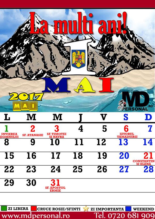 Calendar Mai : Calendar luna mai cu sarbatorile si zilele importante